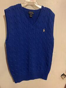 Ralph Lauren Polo Cable Knit Sweater Vest ROYAL BLUE Boys M(10-12)