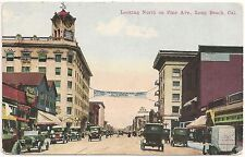 Looking North on Pine Avenue in Long Beach CA Postcard
