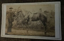 Victorian CDV Photo Man With Horse Landscape Unknown Photographer C. 1870s
