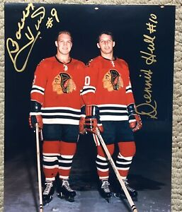Bobby Hull and Dennis Hull  Autographed Color  8 X 10 Chicago Black Hawks COA