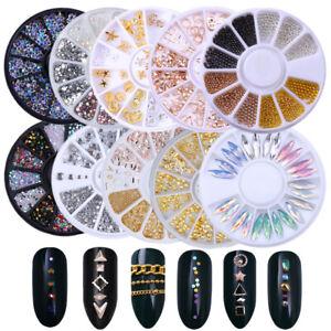 Rose Gold Silver Studs Rivet AB Color Rhinestones 3D Nail Art Decoration Wheel