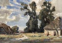 SIDNEY DENNANT MOSS 1884-1946 Watercolour Painting IMPRESSIONIST FARM LANDSCAPE