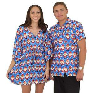 Blue Father Xmas Womens Kaftan & Mens Hawaiian Shirt