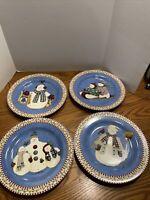 Sakura JOLLY SNOWMEN Salad Dessert Plates Set of 4 Debbie Mumm Christmas Holiday