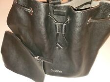 Calvin klein backpack purse Pebbled leather Drawstring plus metal clip