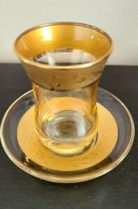 Gold & Glass Turkish Persian Tea Coffee Cup Demitasse Glass and Saucer