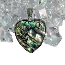 Silver Plated Flowers Abalone Shell Heart Pendant Necklace
