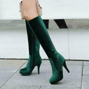 Women's Velvet Knee High Boots High Heel Stiletto Platform Round Toe Party Shoes