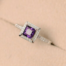 Princess Cut Amethyst 1.00 CT Gemstone Rings Solid 14kt White Gold Ring Size O N