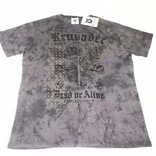 Krusader Shirt Dead Or Alive Scull Design Studded Black Grey NWT. Men's Size 3XL