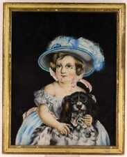 19th c. Victorian Pastel Portrait of Little Girl & Cavalier King Charles Spaniel