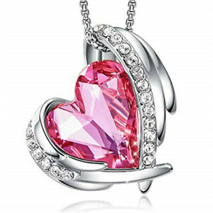 Elegant And Unique Silver Wing Heart-Shaped Pink Zircon Pendant Necklace Gift