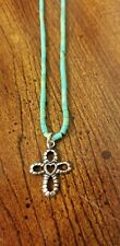 Carolyn Pollack Simply Southwest 925 Sterling Heishi Turquoise & Cross Necklace