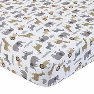 Carter's Taupe Brown White Safari Animal Print Fitted Baby Crib Sheet NEW