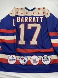 GAME USED GAME WORN TEAM USA EVAN BARRATT UNDER 18 MILITARY JERSEY MEIGRAY