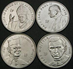 CONGO 1 Franc 2004 - Lot of 4 Coins - Karol Wojtyla / Pope John Paul II. - UNC *