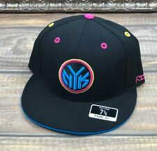 New York Knicks Fitted Flat Brim Hat Reebok NBA Kolors Black Blue Pink 7 3/8
