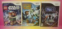 Nintendo Wii Wii U Games LOT Star Wars Lego III Force Unleashed Clone Wars Duels