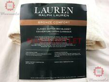 Ralph Lauren Bronze Comfort Classic Cotton Full / Queen Bed Blanket Ivory