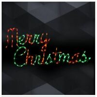 """Xmas """"Merry Christmas"""" Hanging Sign Outdoor LED Lighted Decoration Wireframe"""