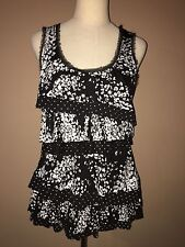 Whbm Black White Ruffled Sleeveless Floral Top Blouse Sz.m