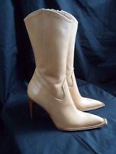 BNWOT Light Tan Leather Cowboy / Western / Italian Made Boots EUR 35 / UK 2½
