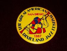 "San Diego Dixieland Jazz Festival Vintage 1987 Metal 3"" Pinback Pin Badge Button"