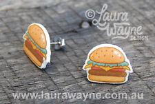 Burger Junk Food Stud Earrings- Handmade Hamburger Jewellery Quirky Unique Gift