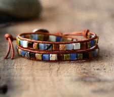 Crystal Beaded Friendship Bracelet Wrap, Jasper, Lapis Lazuli, Leather & Agate