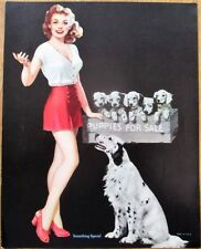 Pinup 1950s Print: Girl w/Dog & 'Puppies For Sale' - 'Something Special' - 8x10