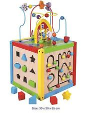 VIGA Childrens 5 in 1 Wooden Toy Activity Cube - Bead Maze Sorter Clock