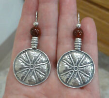 Estate Sterling Silver Hammered Circle Disc Artisan Carnelian Bead Earrings Big