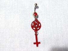 Inverted Cross Charm 14g Belly Ring Satanic Occult Blood Red Pentagram Star &