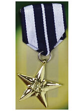Única Medalla Militar Replica Juguete Fancy Dress Accesorio Soldier Gold Star Nuevo