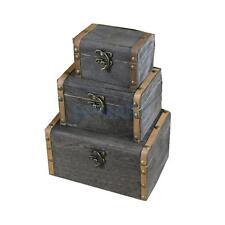 3x Jewelry Organizer Wooden Boxes Storage Trunk Decorative Case Gift Box