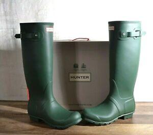 Hunter Women's Green Matte Rubber Rain Boots Original Tall 9 MED WFT1000RMA NEW