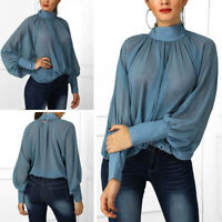 Womens Tops Ladies Chiffon Long Sleeve Casual Blouse Solid Color Stylish Sheer