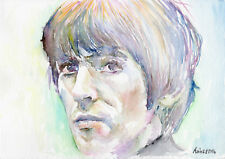 GEORGE HARRISON - Original watercolor portrait painting, The beatles drawing art