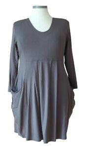 (575) Basic-Colors-Soft-Colors Design Kleid Dunkelgrau Größe: XXL