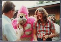 Vintage Color Photograph 1980's Woman Laughing With Pink Gorilla