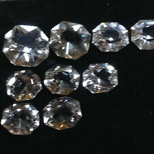 Nine antique octagonal Crystal Glass stones for a chandelier; around 1890
