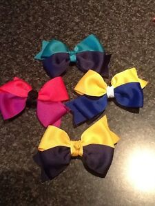 Madelienas Handmade .. 2 Ribbons / 2 Tone  Big Double Bow HAIR CLIPS /choose  1x