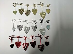 8 x row of six heart bunting card toppers, die cut, birthday,wedding,anniversary