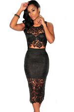 Floral Lace Knee Length Midi Party Dress Top and Skirt Set Black Medium