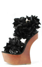 Privileged Black Satin Ruffle Flower Floral Heel Less High Wooden Wedge Sandal 8