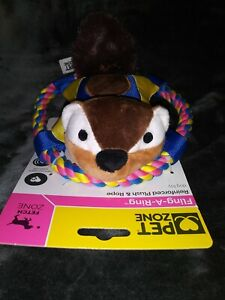 *NEW*  Pet Zone Fling-A-Ring Flying Squirrel 🐿 Fetch/Squeaky Toy For Dogs