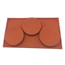3 Cavity Large Disc Round Silicone Mould Soap Cookies Bakeware Cake Pie Pan Tray