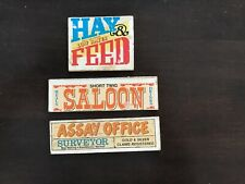 Vintage Lincoln Logs Double Sided Business Signs lot of 3