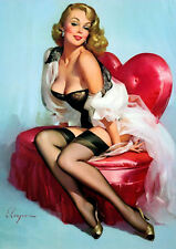 Large Framed Print - Gil Elvgren Classic Vintage Pin Up Love Heart Chair (Art)