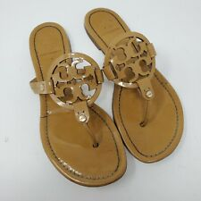 TORY BURCH Miller Tan Patent Leather Thong Flip Flops Women's Sandals Sz 7